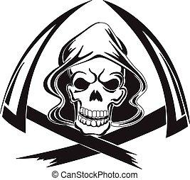 tatuagem, desenho, de, um, reaper severo, com, foice,...