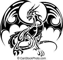 tatuagem, desenho, dragão