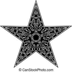 tatuagem, desenho, estrela