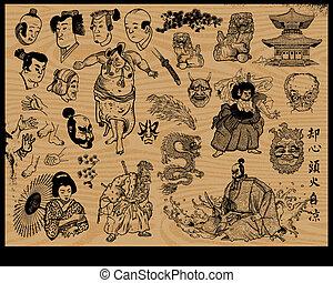 tatuagem, desenho, japoneses