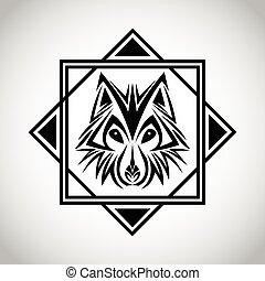 tatuagem, desenho, Lobo,  animal