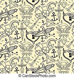 tatuagem, diferente, elementos, padrão, seamless, mão, desenhado