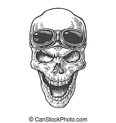 tatuagem, elemento, illustration., cranio, vindima, isolado, cartaz, forehead., experiência., biker, vetorial, desenho, motocicleta, desenhado, pretas, sorrindo, mão, branca, club., óculos