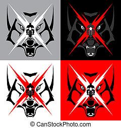 tatuagem, emblema, grande,  tribal,  M, Lobo