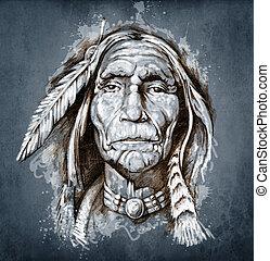 tatuagem, esboço, cabeça, indian americano, retrato, arte