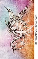 tatuagem, esboço, coloridos, sobre, ilustração, dragão, ...