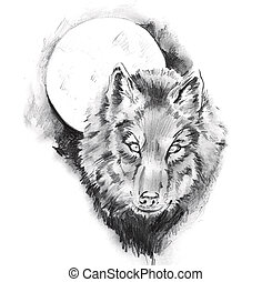 tatuagem, esboço, lobo, arte