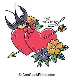 tatuagem, escola, flor, antigas, arrow., love., dois,...