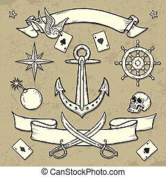 tatuagem, escola, jogo, antigas, elementos