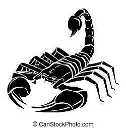 tatuagem, escorpião, mascote