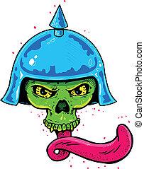 tatuagem, estilo, cranio, capacete, punk, longo, língua