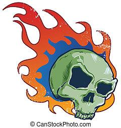 tatuagem, estilo, cranio, flamejante, ilustração, vetorial