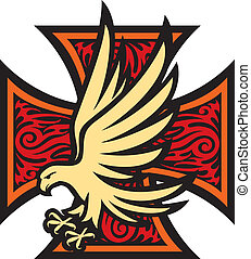 tatuagem, estilo, crucifixos, ferro, águia