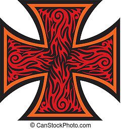 tatuagem, estilo, crucifixos, ferro