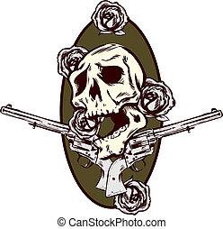 tatuagem, estilo, pistolas, ilustração, rosas, armas