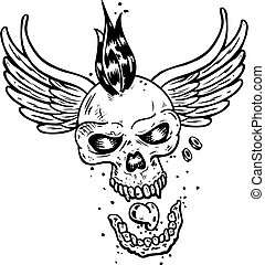 tatuagem, estilo, punk, asas, cranio