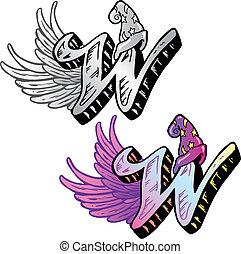 tatuagem, estilo, relevante, letra, símbolos, w, ...