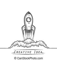 tatuagem, foguete espacial, lançamento