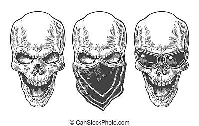 tatuagem, illustration., cranio, vindima, branca, isolado, cartaz, club., experiência., biker, vetorial, desenho, desenhado, motorcycle., pretas, sorrindo, mão, bandana, elemento, óculos