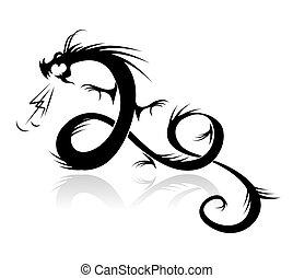tatuagem, ilustração, dragão, vetorial, desenho, seu