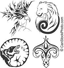 tatuagem, jogo, águia, ram, lobo, urso