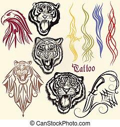 tatuagem, jogo, animais, mão, ornaments.eps, vetorial, desenhado