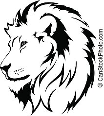 tatuagem, leão, cabeça