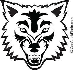 tatuagem, lobo, rosto