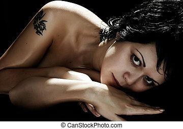 tatuagem, morena, sexual
