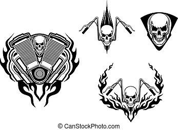 tatuagem, mortos, monstro, correndo, ou, mascote