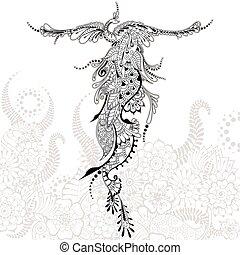 tatuagem, pássaro, phoenix