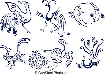 tatuagem, pássaro tribal, ilustração