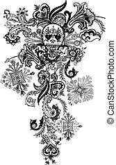 tatuagem, paisley, cranio