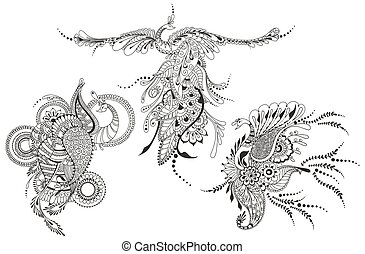 tatuagem, phoenix, pavões, template., three., pássaro