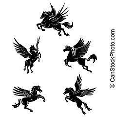 tatuagem, símbolo, cavalo, asa