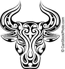 tatuagem, símbolo, signos, touro