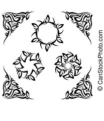 tatuagem, sol, chama, tribal, desenho