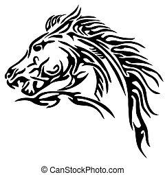 tatuagem, tribal, cavalo
