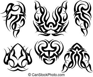 tatuagem, tribal, jogo