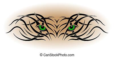 tatuagem, tribal, olhos