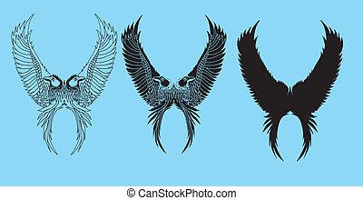 tatuagem, tribal, vetorial, arte, pássaros