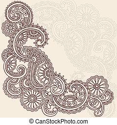 tatuagem, vetorial, henna, mehndi, doodles