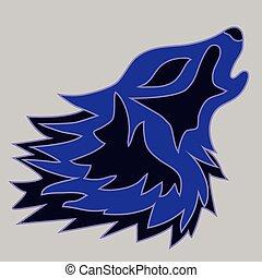 tatuagem, vetorial, ilustração, lobo
