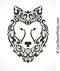 tatuagem, vetorial, lobo, ilustração
