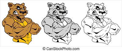 tatuagem, vetorial, lobo, mascote