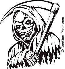 tatuagem, vindima, reaper, prendendo scythe, severo, ...