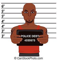 tatuagens, mugshot, americano, segurando, africano, criminal