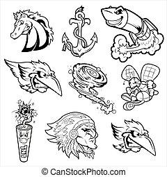 tatuagens, vário, caráteres, mascote