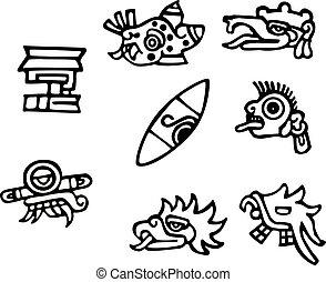 tatuaggi, grande, mayan, grafica, simboli