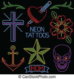 tatuaggi, neon